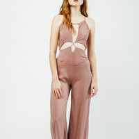 Sunset Cut Out Bodice Jumpsuit in Dusty Rose