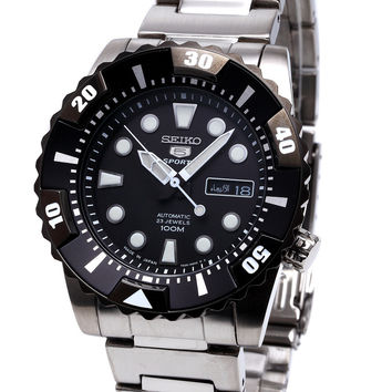 Seiko 5 Black Dial Automatic Stainless Steel Mens Watch SNZJ19J1