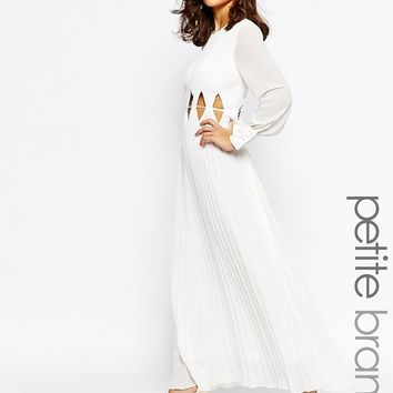 True Decadence Petite Long Sleeve Maxi Dress With Cut Out Waist