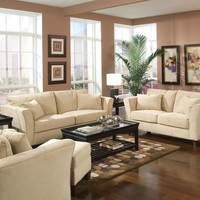 2 pc Park place collection cream plush microfiber upholstered sofa and love seat set with flared arms