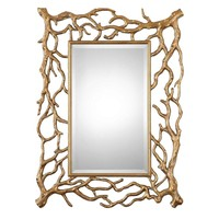 Sequoia Gold Tree Branch Mirror