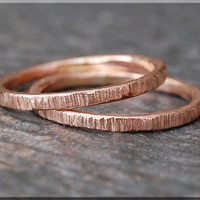Solid 14k Rose Gold Twig Ring, Bark Texture Ring, 14k Gold Stacking Ring, Gold Stacking Ring, Woodland Ring, 14k Pink Gold Ring, Nature Ring