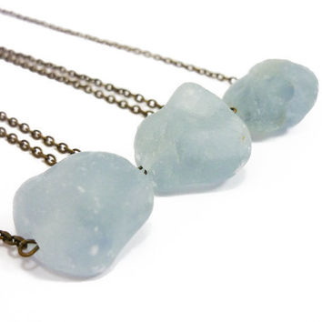 Raw Celestite Quartz Necklace Delicate Natural Soft Aqua Blue Crystal by AstralEYE