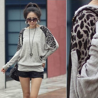 Fashion women Leopard patchwork Sweatshirt long Sleeve T-shirt loose Batwing cotton blend Blouse tops grey black white S/M/L = 1946664900