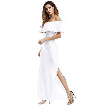 Women's Pure Color Wrap Slit Long Skirt