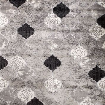 2088 Gray Trellis Thick Pile Contemporary Area Rugs