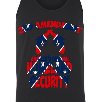 Men's Confederate Rebel Flag Tank Top Americas Originals Homeland Security Gym Workout: WHITE (XXL)