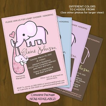 Elephant Baby Shower Invitation - Elephant mommy and baby - Printable Baby Shower Invitation - Pink, Light Blue, Purple or Brown Baby Shower