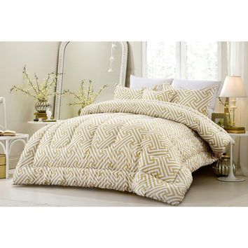 4 PC GEOMETRIC MODERN ALL SEASON SUPER SOFT OVERSIZED COMFORTER SET - TAUPE - STYLE 1057