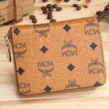 MCM Trending Women Print Leather Zipper Purse Wallet Coin Purse Brown I