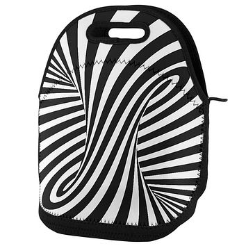 Trippy Black And White Swirl Lunch Tote Bag