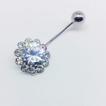 The Sun Flower Diamond Belly Button Ring ,316L  Belly Ring ,Sun Flower Button Ring, Belly Button Ring,Belly Button Piercing