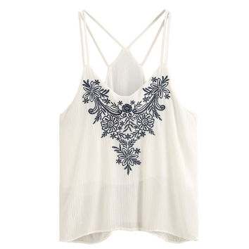 FashionZone 2017 Summer Women Crop Tops Fashion Flower Embroidered Casual Lady Tops