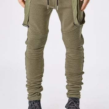 B11 Strapped Biker Joggers - Military Green