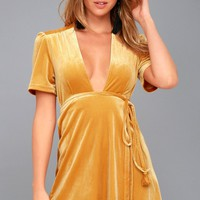 Lush For Life Golden Yellow Velvet Wrap Dress