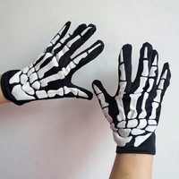 Christmas Halloween Gloves Halloween Horror Skeleton Ghost Claw Gloves (Color: Black white) = 1958067012