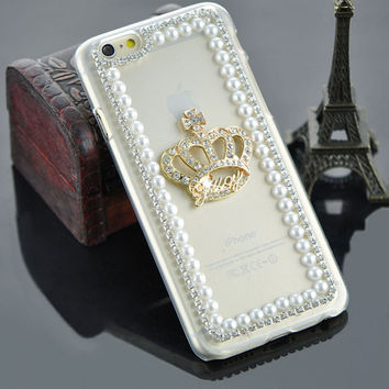 Luxury DIY Bling Rhinestone Crown pure pearl Back Cover Fashion clear transparent 3D phone case for iphone 5 5S