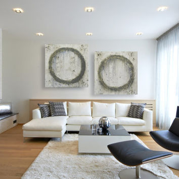 Two Large Abstract Paintings Neutral Toned Modern Circles Home Decor