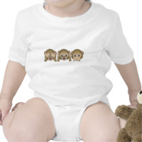 Three Wise Monkeys Emoji Baby Bodysuit