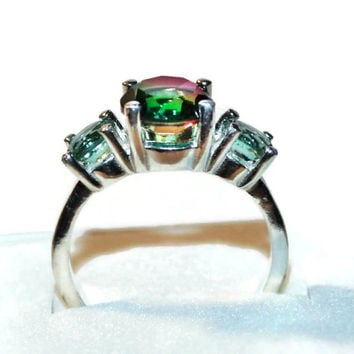 Watermelon Quartz Ring, Three Stone Ring, Sterling Silver, Ring with Green Stones, Quartz Ring