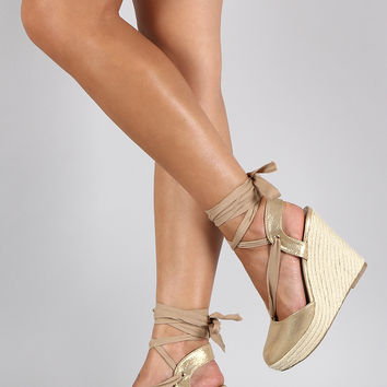 Breckelle Metallic Round Toe Ankle Wrap Espadrille Wedge