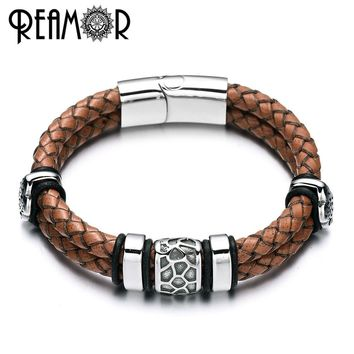 REAMOR 316l Stainless Steel Irregularly Cracked Bead Bracelet Genuine Braided Leather Male Bracelets & Bangles Men's Jewelry