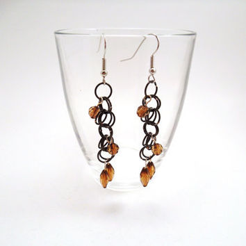 Amber Bead Chainmail Earrings by SerenityInChains on Etsy
