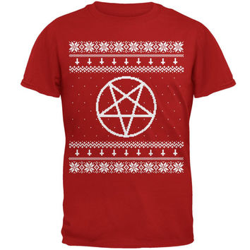 White Satanic Pentagram Ugly Christmas Sweater Red Adult T-Shirt
