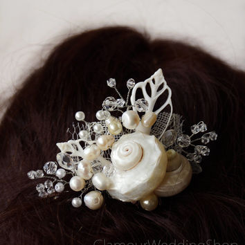 Beach Wedding Hair Comb Shells Hair Comb Mermaid Hair Accessory Starfish Headpiece, Nautical Wedding Beach Headpiece Destination Wedding