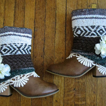 Size 9 Southwestern Boho Boots Upcycled Bohemian Refashioned Gypsy Booties
