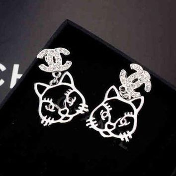 ONETOW Chanel Women Fashion CC Logo Cat Stud Earring Jewelry