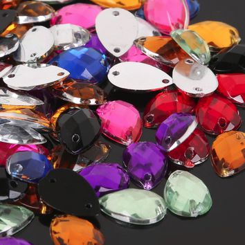 100Pcs Holes Sew Mixed Faceted Teardrop Acrylic Rhinestone Flatback Scrapbooking Beads 8x13mm Decoration Clothes Bags