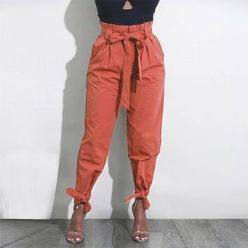 Loose Bow Ruffle Accented High Waist Trousers
