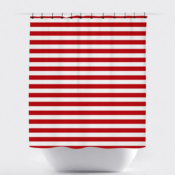 Red/White Stripe Shower Curtain
