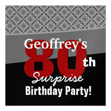 80th Surprise Birthday Party Black Red and White Diamonds Personalized Invitations