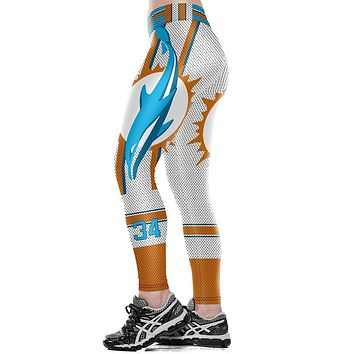 Unisex Miami Dolphins Logo Thematic Fitness Leggings Fiber Elastic Hiphop Party Pants Workout Trousers Dropshipping