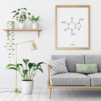 Coffee Sign | Caffeine Molecule | Chemistry Decor | Coffee Poster | Poster Coffee | Coffee Sign Decor | Caffeine Art | Kitchen Coffee Decor