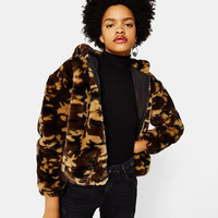 Faux fur jacket with hood - null - Bershka United Kingdom