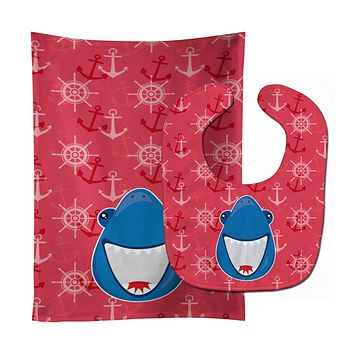 Shark Wide Open Baby Bib & Burp Cloth BB6945STBU