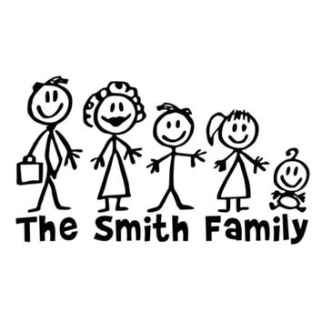 18cm10 4cm personalised matchstick family funny car vinyl decal