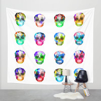 Colorful skulls Wall Tapestry by Haroulita