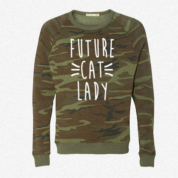 Future Cat Lady fleece crewneck sweatshirt