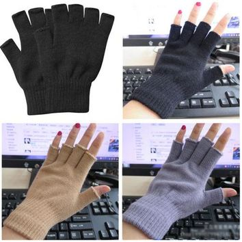 Hot Women Men Soft Half Finger Gloves Winter Warmer Knitted Cotton Mittens Fingerless Black Gray Beige