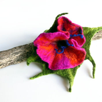 Felted flower brooch  hand felted brooch pink OOAK flower
