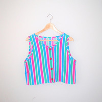 80s striped button up tank top 1980s vintage rainbow stripe boxy fit tank medium