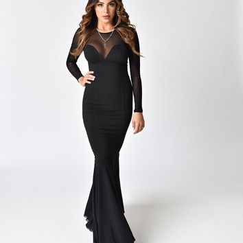 Collectif Black Fishtail Morticia Wiggle Gown