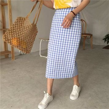 2018 year Summer women maxi saia korean style small fresh Harajuku casual wild high waist split Plaid skirt Petticoat Underskirt