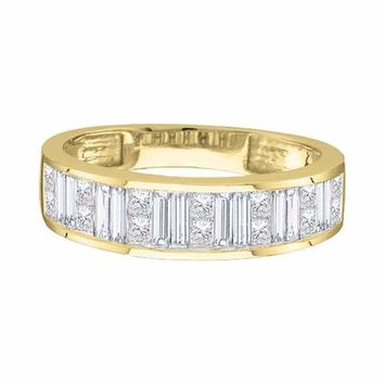 14kt Yellow Gold Women's Princess Baguette Diamond Wedding Band 1/4 Cttw - FREE Shipping (US/CAN)