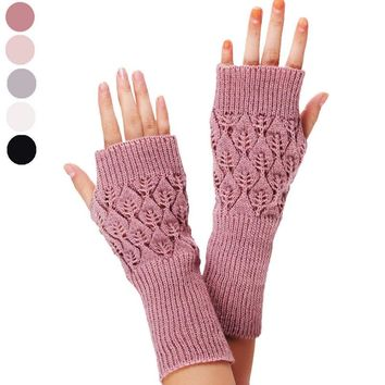 New 1PC Hot High Quality Unisex Winter Fingerless Gloves Warm Knitted Hollow Long Section Leaves Glove