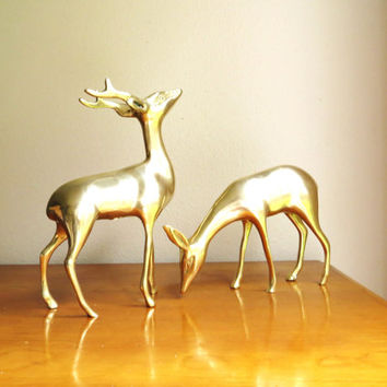 Vintage Brass Deer Figurines, Brass Doe and Buck, Deer Family, Woodland Brass Animal, Reindeer Statues, Pair, Couple